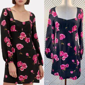 Intermix Bernice Floral Mini Dress in Black